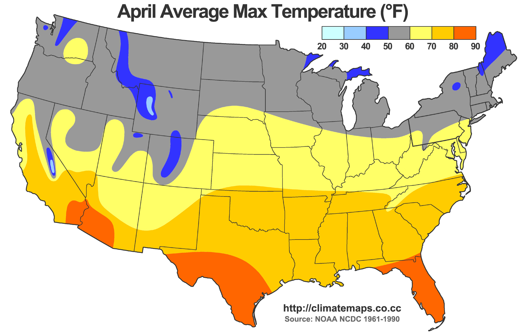 Average high temperatures in April (source: NOAA NCDC 1961-1990).