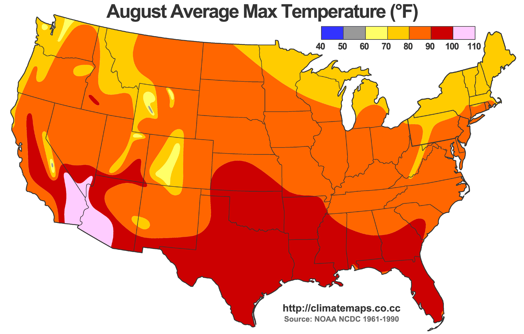 Average high temperatures in August (source: NOAA NCDC 1961-1990).