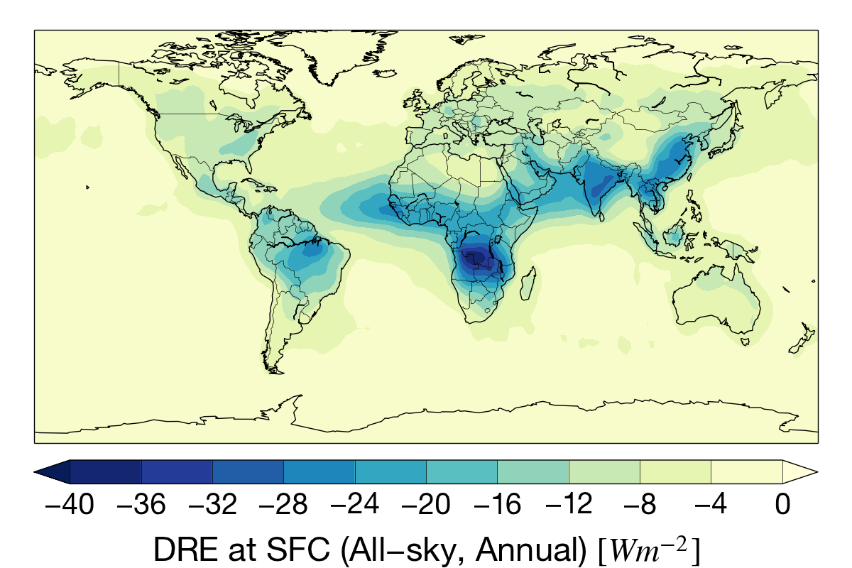 Annual aerosol direct radiative effect (DRE) at the surface for the CloudSat mission.