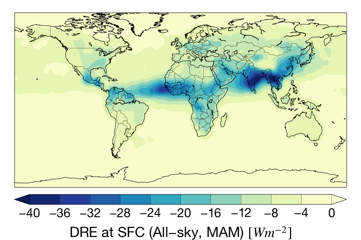Mar-May aerosol direct radiative effect (DRE) at the surface for the CloudSat mission.