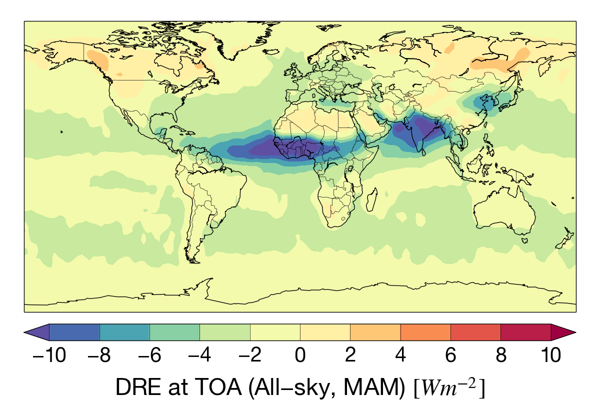 Mar-May aerosol direct radiative effect (DRE) at the top-of-atmosphere for the CloudSat mission.