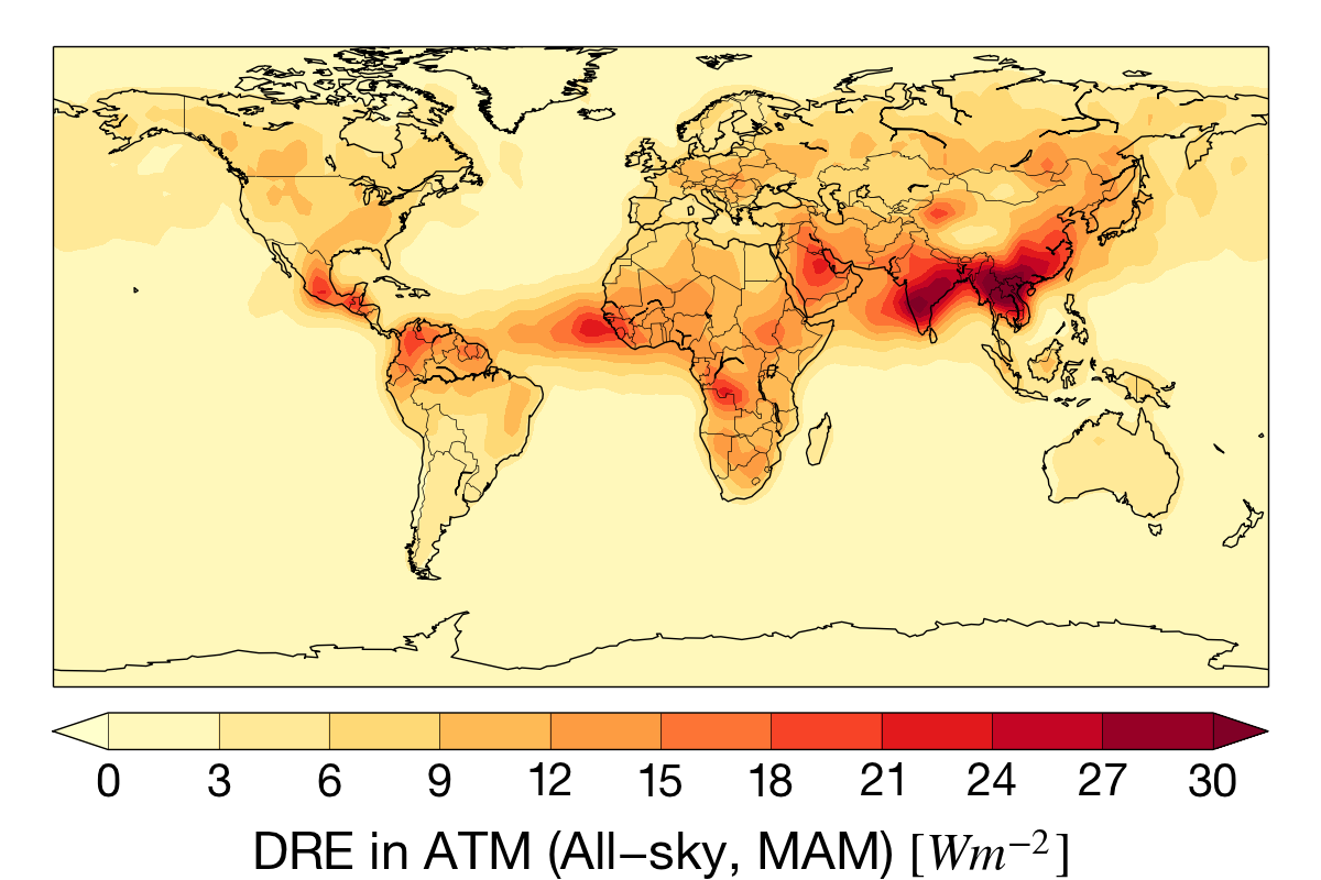 Mar-May aerosol absorption for the CloudSat mission.