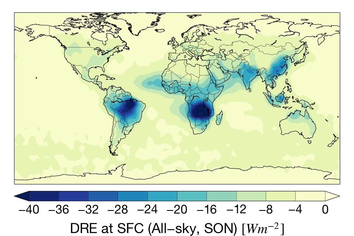 Sep-Nov aerosol direct radiative effect (DRE) at the surface for the CloudSat mission.