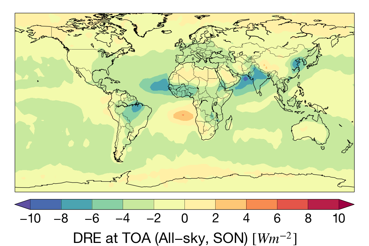 Sep-Nov aerosol direct radiative effect (DRE) at the top-of-atmosphere for the CloudSat mission.
